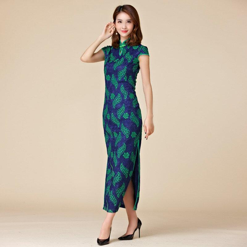 灰姑娘[9876-JK]印花蕾絲復古中國風立領短袖旗袍唐裝長禮服