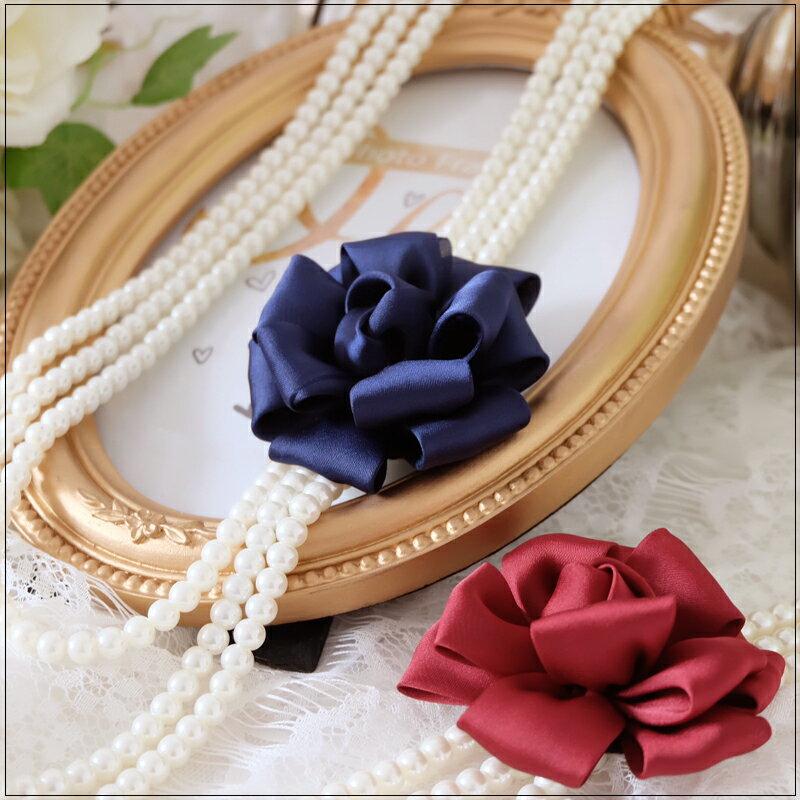 灰姑娘[L010A-S]優雅質感玫瑰花朵三鍊式珍珠項鍊