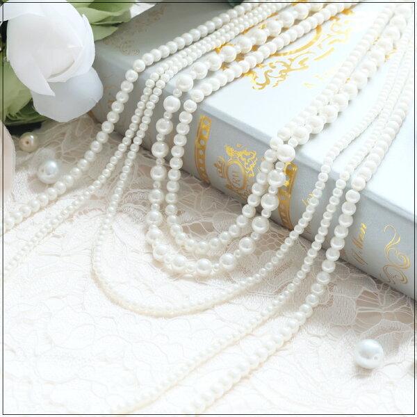 灰姑娘[L013-S]多鍊式層次感奢華名媛珍珠項鍊