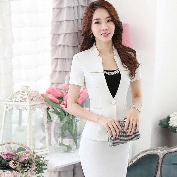 灰姑娘^~SL~011~PF^~優雅金屬條裝飾OL立領短袖西裝外套^~