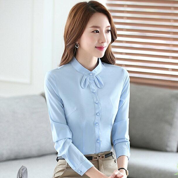 灰姑娘[YS-1781-PF]可愛小領結純色OL長袖襯衫~零碼出清不退