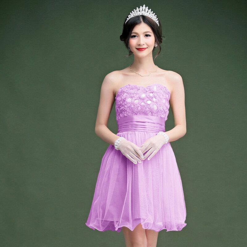 灰姑娘[2327-S ] 中大尺碼*唯美身段氣質玫瑰花圍胸網紗小禮服