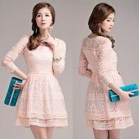 時尚洋裝 小禮服推薦到灰姑娘[2333gk-S] 甜美宮廷風迷人緹花蕾絲鏤空袖連身小禮服