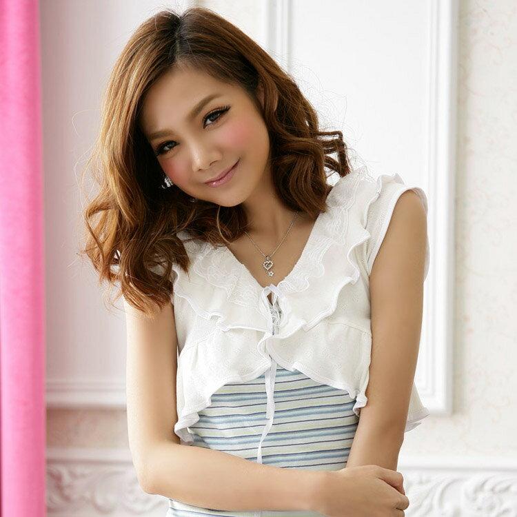 灰姑娘[3319-JKL] 美型意念荷葉邊針織罩衫小外套‧中大尺碼