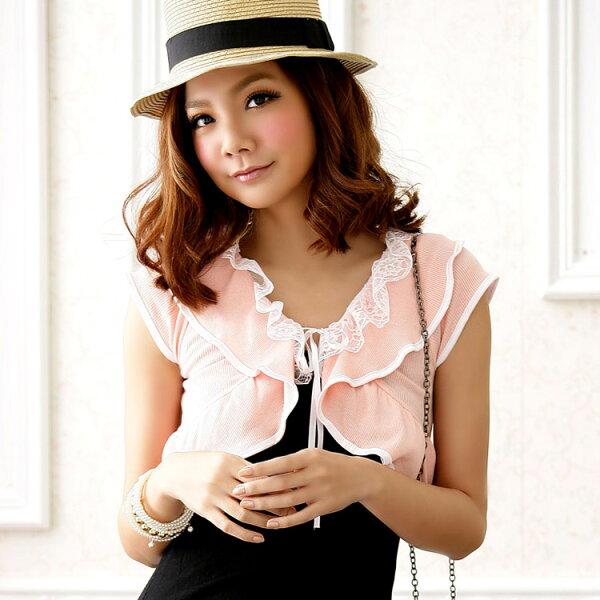 灰姑娘[3319-JK]美型意念荷葉邊針織罩衫小外套