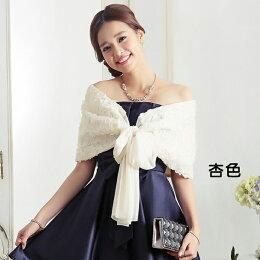 灰姑娘公主玫瑰花蕾絲亮片綁結禮服 披肩