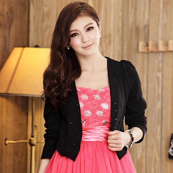 灰姑娘[515-JK]韓版時尚OL短版長袖燙鑽西裝小外套