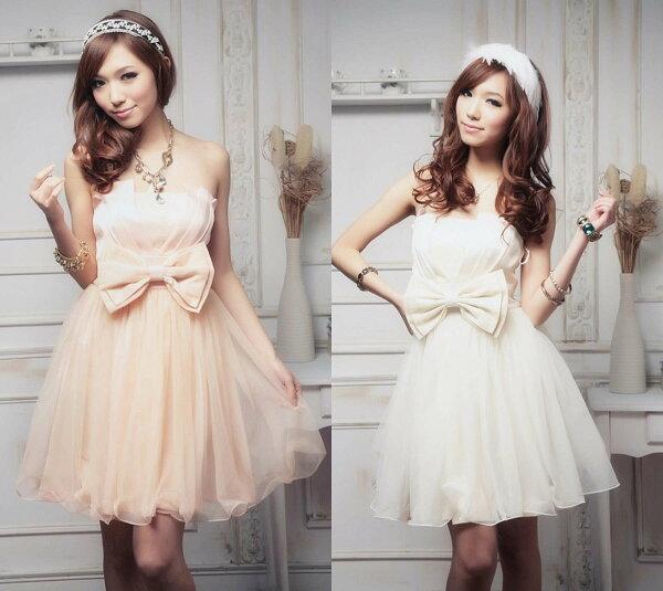 灰姑娘【8895-S】美胸包覆網紗波浪裙擺蓬蓬小禮服洋裝