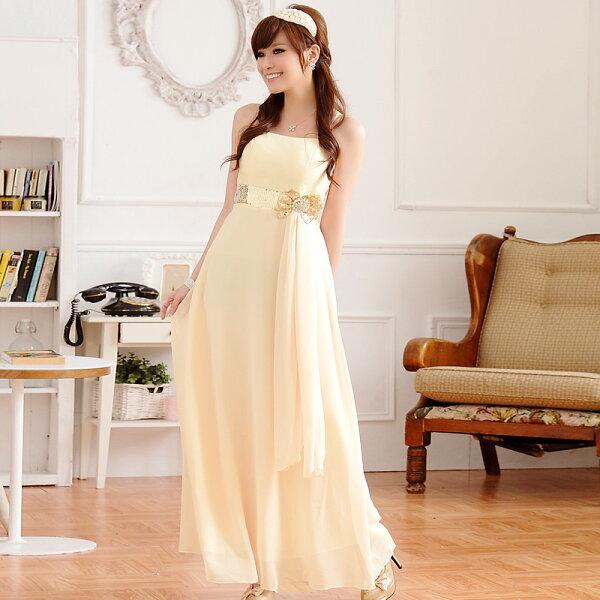 灰姑娘[9212-JK] 亮鑽蝴蝶結亮片腰帶細肩帶長版晚禮服連身長裙 共三色