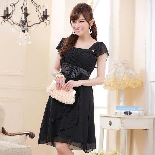 灰姑娘[9303-JK]中大尺碼*優雅氣質壓摺荷葉袖蝴蝶結謝師宴洋裝小禮服
