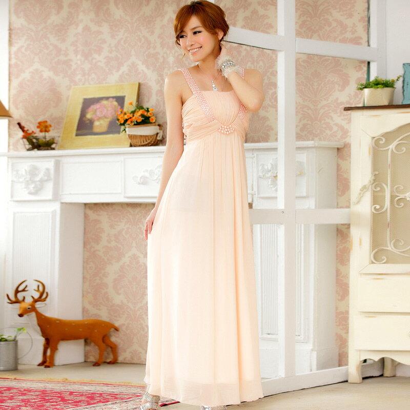 灰姑娘 9601–JK 宴會注目款U型 釘珠美胸視覺 長版禮服