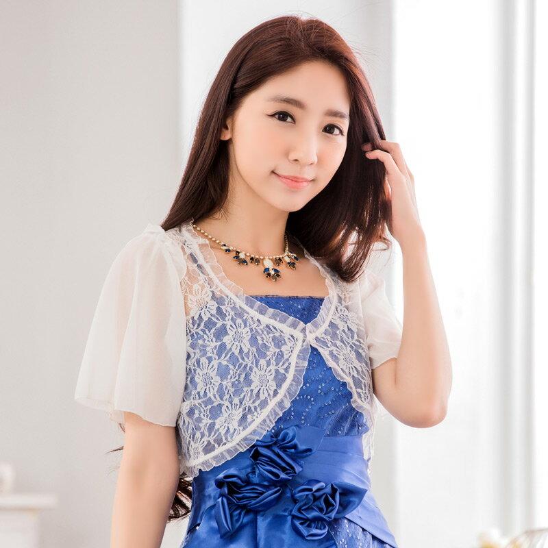 灰姑娘[9637-JK]甜美蕾絲雪紡袖小外套~禮服搭配~