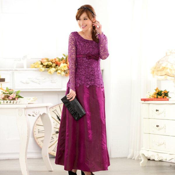 灰姑娘[9720-JK]主持服飾長袖禮服蕾絲鏤空長款晚禮服