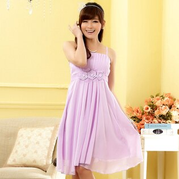 灰姑娘[9805-JK]小香風*腰部花朵美胸皺摺設計小禮服