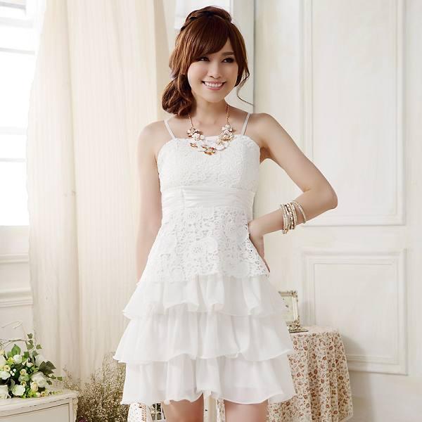 灰姑娘[9909-JK]甜美蕾絲蝴蝶結綁帶雪紡蛋糕公主裙~謝師宴小禮服~