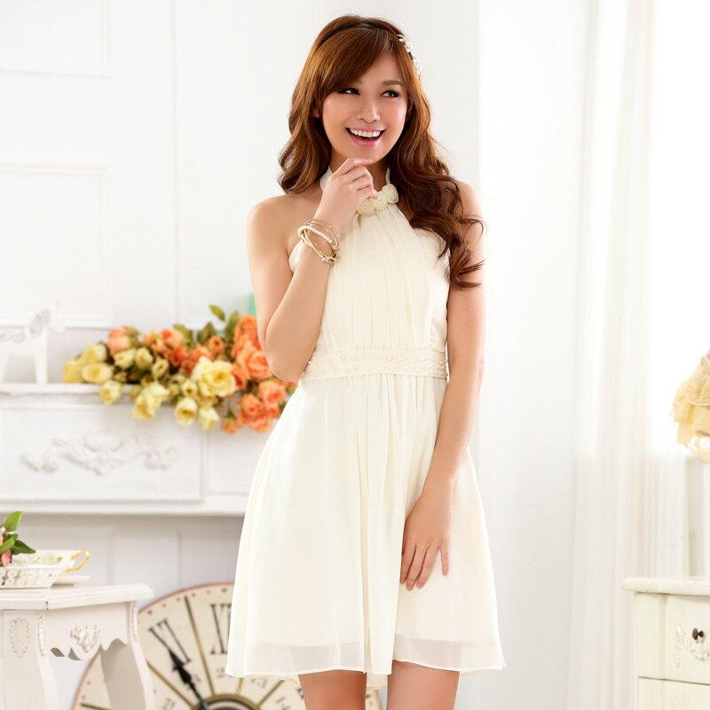 灰姑娘[9917-JK] 甜美綁脖釘珠維納斯雪紡洋裝~宴會尾牙禮服
