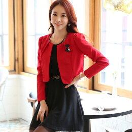 韓版小香風西裝開衫長袖小外套灰姑娘