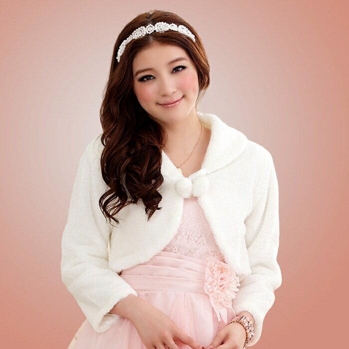 灰姑娘[J611-JKL]中大尺碼‧甜美閨蜜伴娘禮服披肩毛毛小外套(白色)