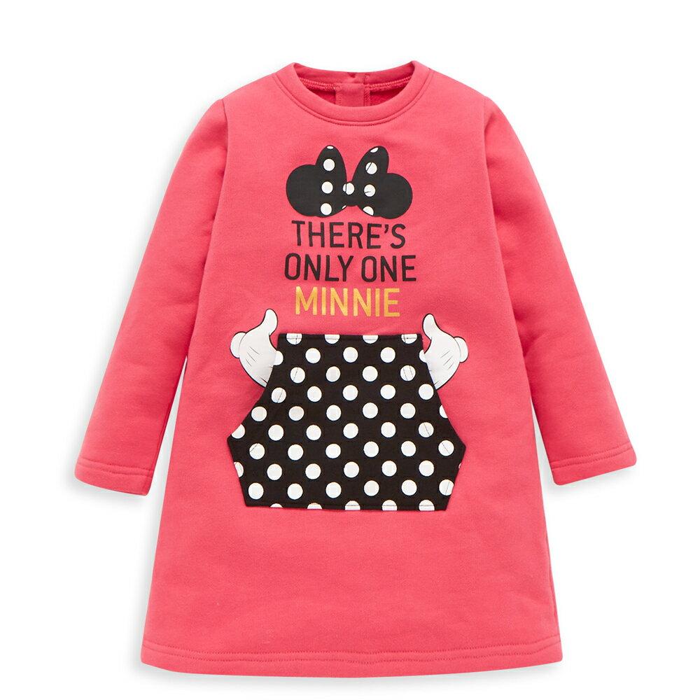 Disney 米妮系列淘氣口袋刷毛洋裝-熱情粉