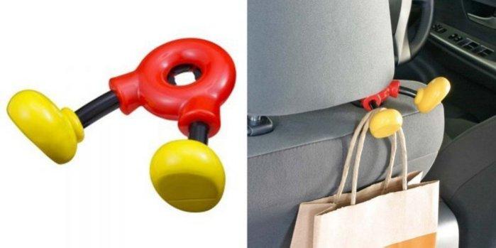 權世界@汽車用品 日本 NAPOLEX WD-259 Disney 米奇 腳部造型 頭枕用 包包掛勾 置物架