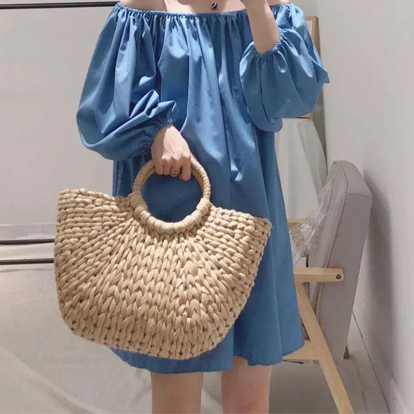 爆款 半圓形 草編包 籐編包 藤編包 手提包 束口 編織 玉米葉 海邊 度假 韓國 網紅 ANNA S.599