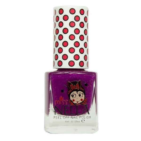 英國【MissNella】妮娜小姐水性可撕式安全指甲油4ml-閃閃莓果紫MN08兒童指甲油
