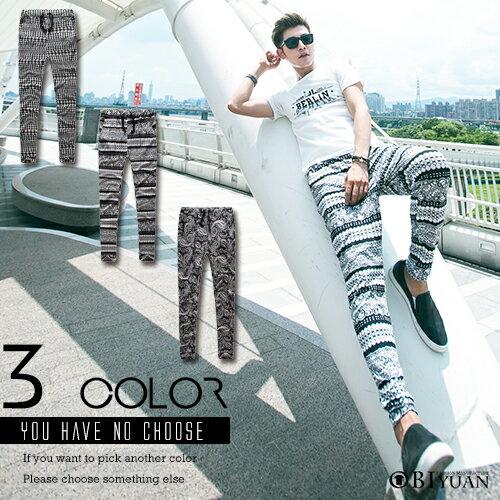 休閒褲【T88867】OBI YUAN韓版民族風滿版千鳥格紋圖騰抽繩大彈性哈倫褲共3色