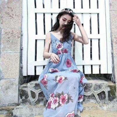 連身裙細肩帶洋裝-露背雪紡印花波希米亞風女連衣裙73pu34【獨家進口】【米蘭精品】