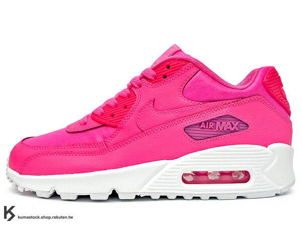 [24cm] 2015 NSW 經典復刻 慢跑鞋款 女孩專用 NIKE AIR MAX 90 LTR LEATHER GS 大童鞋 女鞋 粉紅 白中底 粉紅白 皮革 (724852-600) !