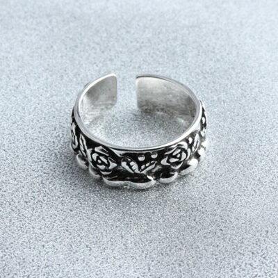~925純銀戒指玫瑰開口戒~文藝復古優雅氣質情人節生日 女飾品73gp14~ ~~米蘭 ~