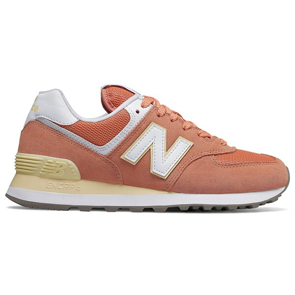 Shoestw【WL574ESF】NEW BALANCE NB574 復古休閒鞋 麂皮 馬卡龍 橘子汽水 粉橘鵝黃 女生 0