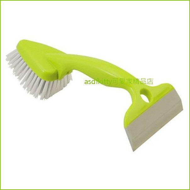 asdfkitty可愛家☆日本製-AIWA綠色雙頭清潔刷+刮刀-可輕鬆刮除水漬