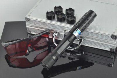 威富登LED照明 2W藍光雷射筆 標示10000mw點火燒紙箱點香煙+ 可變焦可燃火柴香菸鞭炮金紙 藍色雷射筆