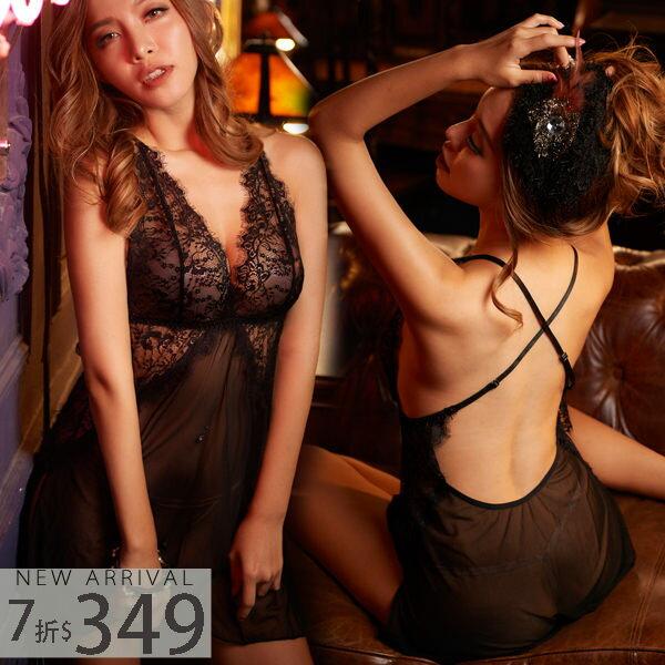 睡衣交叉美背側開襟睡衣-睡裙+丁字褲(兩色:黑、白)-性感、情趣、居家服_蜜桃洋房