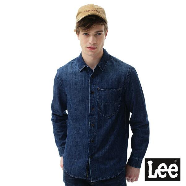 Lee Jeans tw:【2017秋冬新品全面8折】LeeSTORMRIDER牛仔長袖襯衫-男款-深藍【單筆消費滿1000元全會員結帳輸入序號『CNY100』↘折100