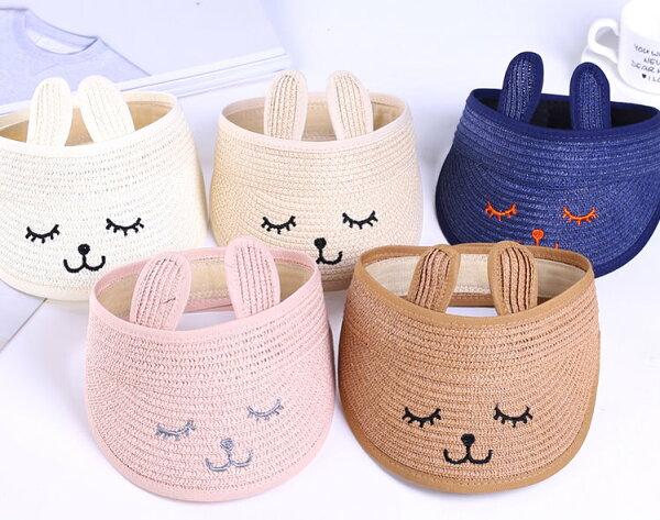 夏季兒童防曬帽空頂帽草帽可愛兔子款摺疊帽