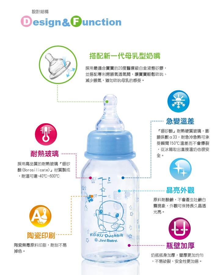 『121婦嬰用品館』KUKU 晶亮加厚寬口玻璃奶瓶120ml 3