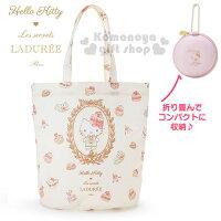 世界地球日,環保愛地球到〔小禮堂〕Hello Kitty x LADURÉE 折疊式環保購物袋《粉.甜點》附拉鍊收納袋