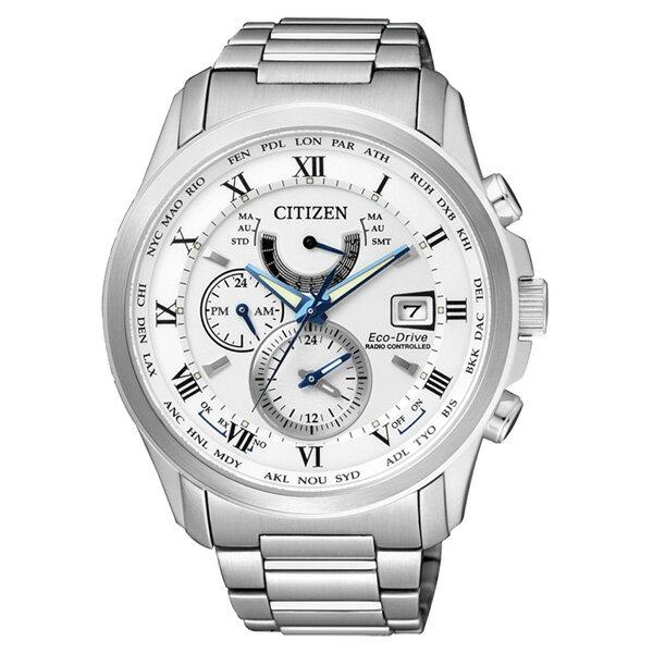 CITIZEN星辰AT9080~57A雅痞紳士電波光動能腕錶 白面43mm