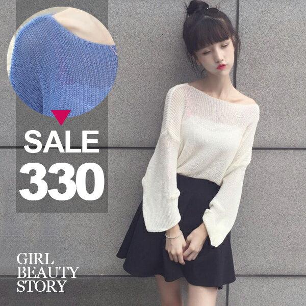 SISI【L7021】休閒隨性韓版圓領寬鬆百搭鏤空針織衫長袖罩衫上衣