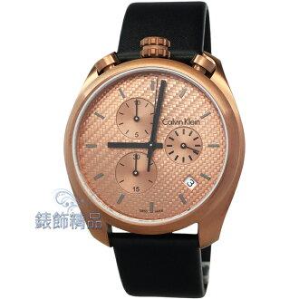 【錶飾精品】CK手錶 K6Z17TCK 立體刻紋錶盤設計 IP咖啡金 黑皮帶男錶 全新原廠正品 情人生日禮物