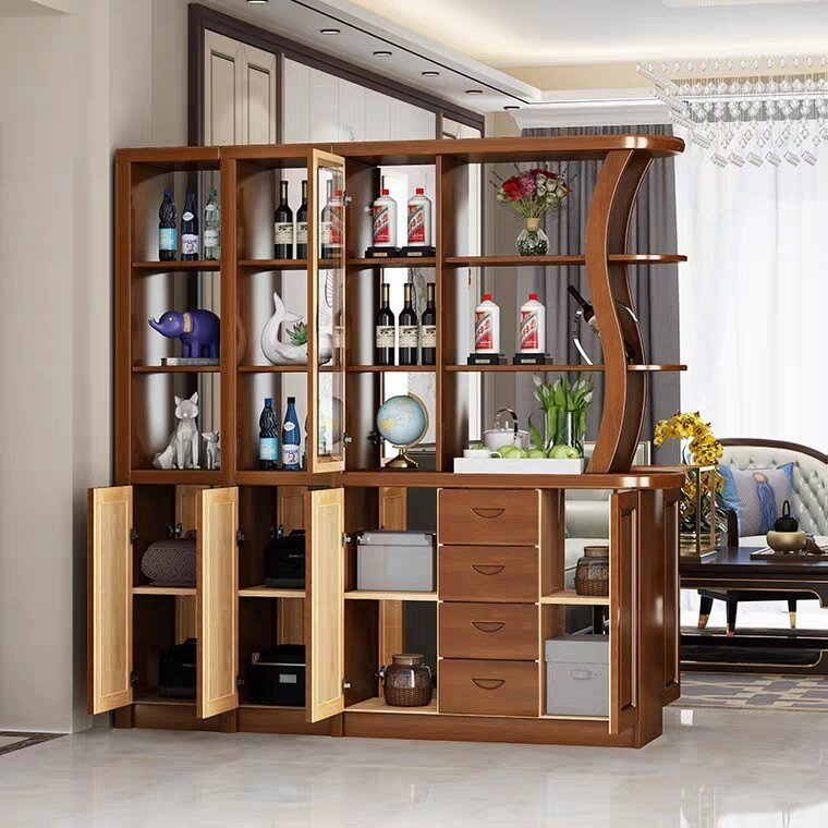 實木玄關柜客廳隔斷柜現代簡約中式屏風酒柜入戶鞋柜間廳柜儲物柜