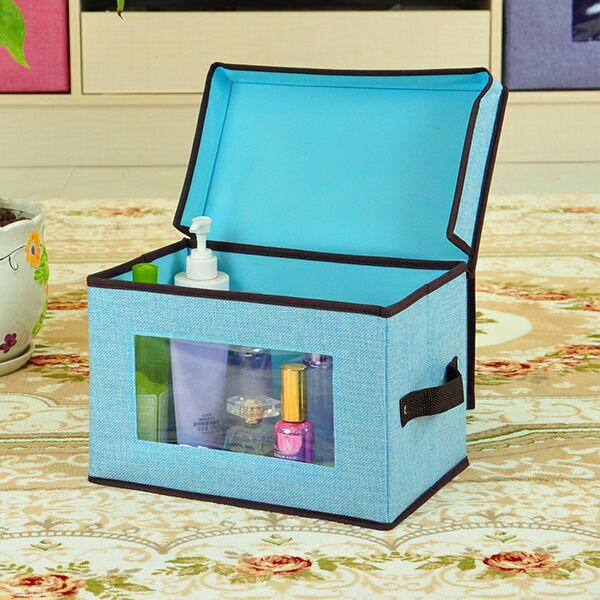 PSMallpvc透視收納箱棉麻整理箱布藝收納盒38*25*25cm收納袋【J2104】