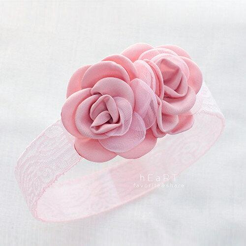 【現貨】氣質雙玫瑰寬蕾絲髮帶 兒童髮帶 彈性髮帶 造型髮飾