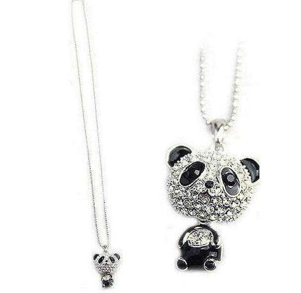 閃鑽大頭熊貓吊墜項鍊時尚可愛滿鑽毛衣鏈 熊貓項鍊 水晶項鍊