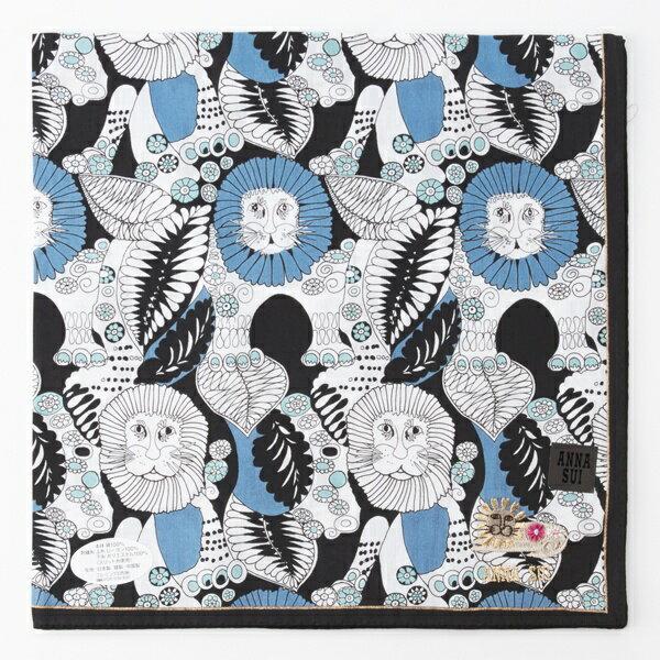 ANNASUI繽紛叢林獅王圖騰刺繡字母LOGO刺繡帕領巾(藍色系)