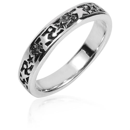 Planet and Stars Around Band Sterling Silver Ring 1