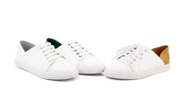 Pyf♥兩穿懶人鞋平底綁帶球鞋小白鞋便鞋拼色43大尺碼女鞋