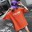 F-DNA★前英字後割破卡通圓領五分袖上衣T恤(3色-M-2XL)【ET12696】 1