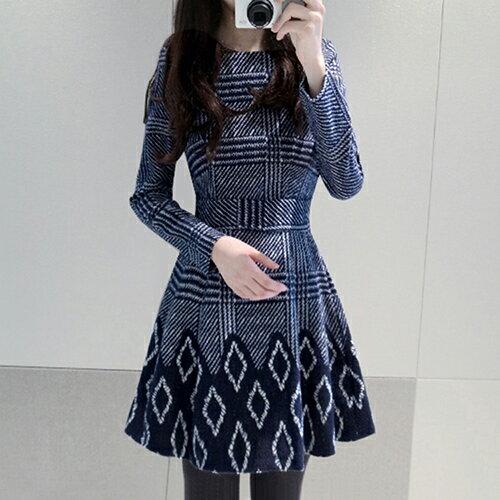 韓版修身顯瘦印花連身裙(圖片色S~2XL)【OREAD】 - 限時優惠好康折扣